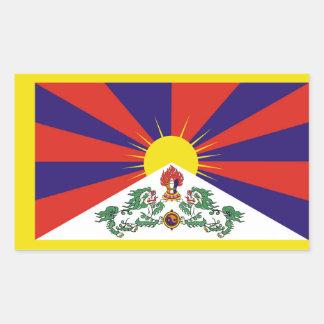Flagge der Tibet- oder Schnee-Löwe-Flagge Rechteckiger Aufkleber