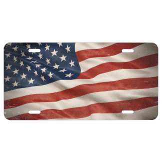Flagge der USA, die stolz wellenartig bewegen US Nummernschild