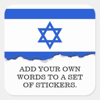 Flagge des Israelis Quadratischer Aufkleber