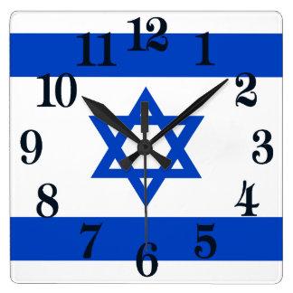 Flagge des Staat von Israel Quadratische Wanduhr