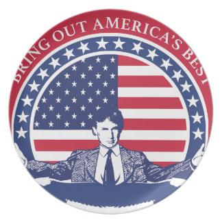 Flagge Donald Trump 2016 mit Porträt Melaminteller
