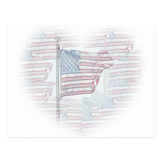 Flagge-Herz-Postkarte Postkarte