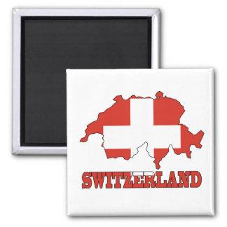 Flagge in der Karte von der Schweiz Quadratischer Magnet
