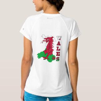 Flagge in der Karte von Wales T-Shirt