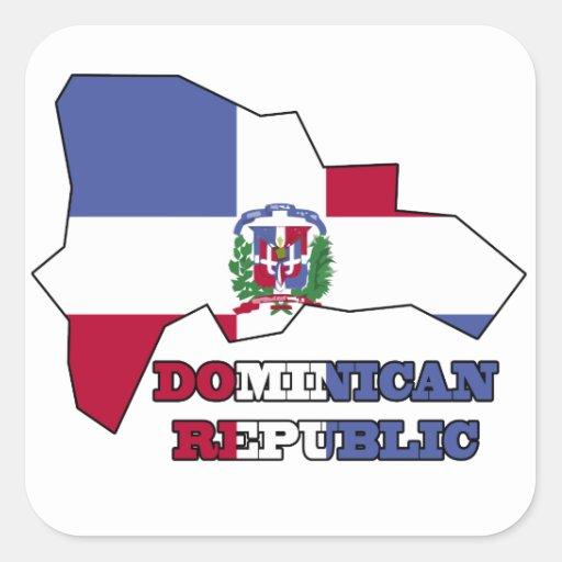 Flagge in der Karten-Dominikanischen Republik Stickers
