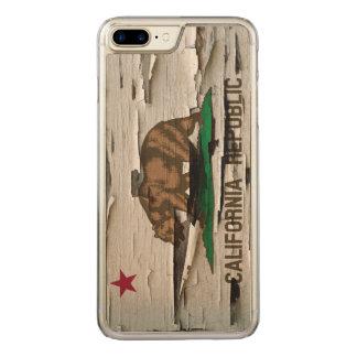 Flagge Kalifornien-Republik-des Vintagen hölzernen Carved iPhone 8 Plus/7 Plus Hülle