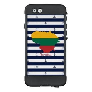 Flagge/Karte von Litauen auf gestreiftem LifeProof NÜÜD iPhone 6 Hülle
