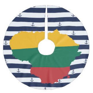 Flagge/Karte von Litauen auf gestreiftem Polyester Weihnachtsbaumdecke
