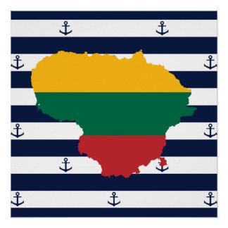 Flagge/Karte von Litauen auf gestreiftem Poster
