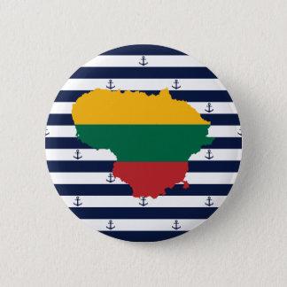 Flagge/Karte von Litauen auf gestreiftem Runder Button 5,1 Cm