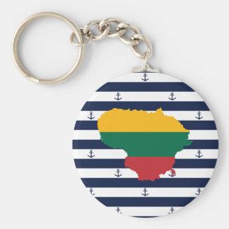 Flagge/Karte von Litauen auf gestreiftem Schlüsselanhänger