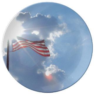 Flagge-patriotische Abendessen-Porzellan-Platte Porzellanteller