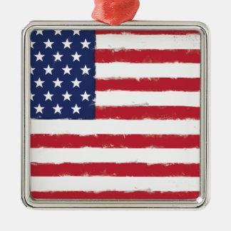 Flagge-patriotischer alter Schmutz Quadratisches Silberfarbenes Ornament