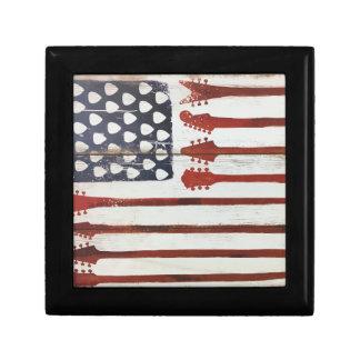 Flagge-patriotisches Gitarren-Musikthema Schmuckschachtel