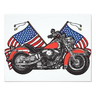 Flagge-patriotisches Motorrad 10,8 X 14 Cm Einladungskarte