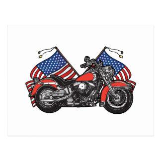 Flagge-patriotisches Motorrad Postkarten
