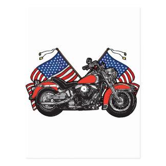 Flagge-patriotisches Motorrad Postkarte