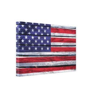 Flagge-rustikales Holz Leinwanddruck