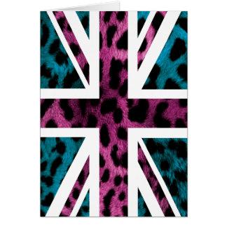 Flagge Schock-rosa Leopard-Muster-Jack-Briten Karte