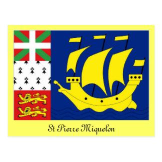Flagge St Pierre Miquelon Postkarte
