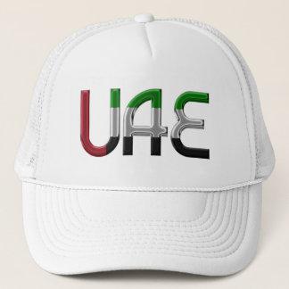 Flagge UAE Arabische Emirate färbt Typografie Truckerkappe