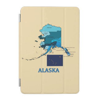Flagge und Karte von Alaska iPad Mini Hülle