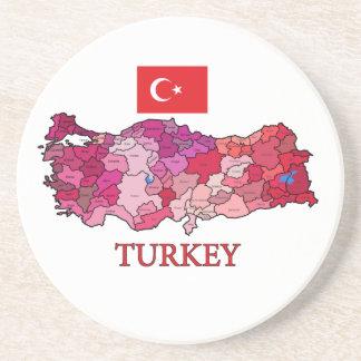 Flagge und Karte von der Türkei Sandstein Untersetzer