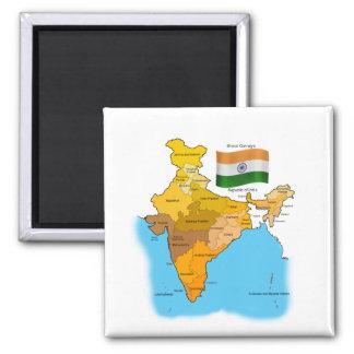 Flagge und Karte von Indien Magnets