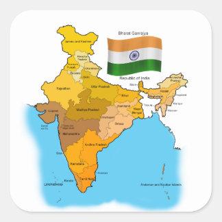 Flagge und Karte von Indien Quadratischer Aufkleber