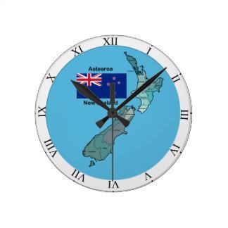 Flagge und Karte von Neuseeland Uhren