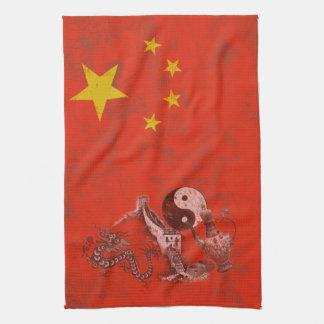 Flagge und Symbole der China ID158 Geschirrtuch