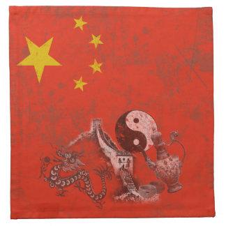 Flagge und Symbole der China ID158 Stoffserviette