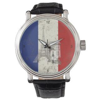 Flagge und Symbole von Frankreich ID156 Armbanduhr