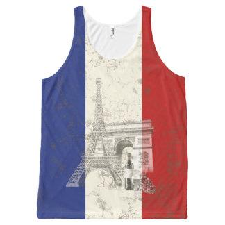 Flagge und Symbole von Frankreich ID156 Komplett Bedrucktes Tanktop