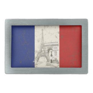Flagge und Symbole von Frankreich ID156 Rechteckige Gürtelschnalle