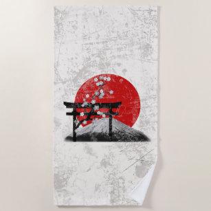 Flagge und Symbole von Japan ID153 Strandtuch