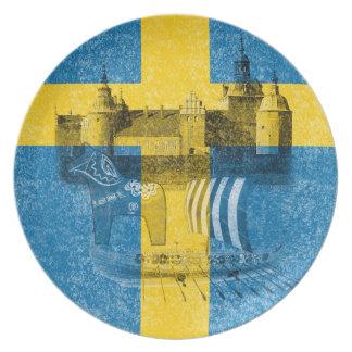 Flagge und Symbole von Schweden Teller