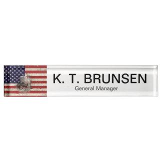 Flagge und Symbole von Vereinigten Staaten ID155 Namensplakette