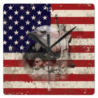 Flagge und Symbole von Vereinigten Staaten ID155 Quadratische Wanduhr