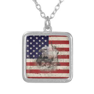 Flagge und Symbole von Vereinigten Staaten ID155 Versilberte Kette