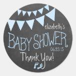 Flagge und Tafel Blick-Baby Dusche Runde Sticker