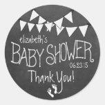 Flagge und Tafel Blick-Baby Dusche Runder Sticker
