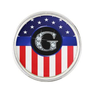 "Flagge USA Ameican mit G-""Imitat-"" Diamanten Anstecknadel"