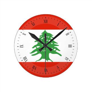 Flagge vom Libanon Runde Wanduhr