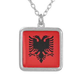 Flagge von Albanien - Flamuri I Shqipërisë Versilberte Kette
