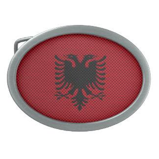 Flagge von Albanien mit Kohlenstoff-Faser-Effekt Ovale Gürtelschnallen
