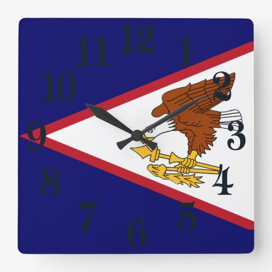 Flagge von American Samoa Quadratische Wanduhr
