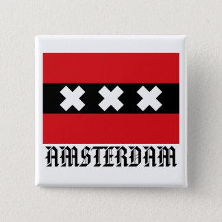 Flagge von Amsterdam Quadratischer Button 5,1 Cm
