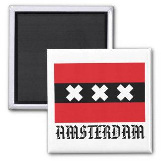 Flagge von Amsterdam Quadratischer Magnet