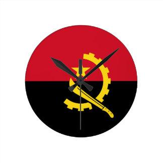 Flagge von Angola- - Bandeirade Angola Runde Wanduhr